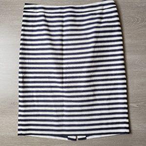 J. Crew No. 2 Pencil Skirt in Navy-White Stripe